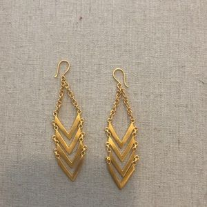 Anthropologie brushed gold earrings.